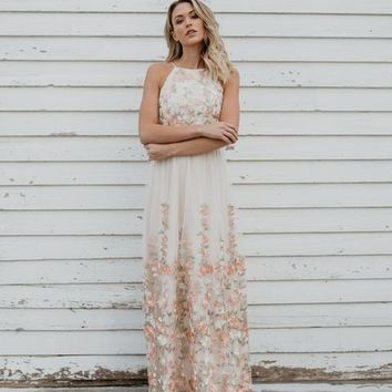 Majestic Florals Embroidered Maxi Dress