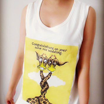 Wedding Giraffe Pattern Shirt Crop Top Tank Tops T-Shirt , Women Sexy Hipster Shirt , Custom Photo T-Shirt