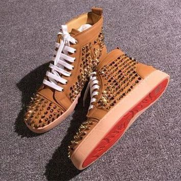 DCCK Cl Christian Louboutin Louis Spikes Style #1853 Sneakers Fashion Shoes