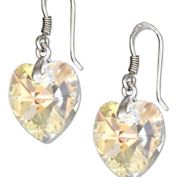 STERLING SILVER CLEAR AURORA BOREALIS SWAROVSKI CRYSTAL HEART EARRINGS