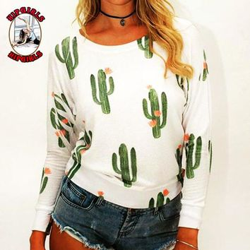 New fashion cactus print long sleeve top women White