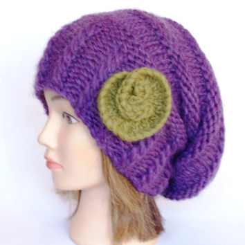 Slouchy beanie hat purple slouch hats beanies plum accessory for women olive green flower chunky knitted hat irish handknit hats wool