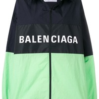 Ladies Mint Green and Black Color-Block Track Jacket by Balenciaga