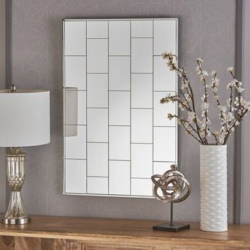 Serafina Glam Rectangle Patterned Wall Mirror by Christopher Knight Home - Clear - N/A | Overstock.com Shopping - The Best Deals on Mirrors