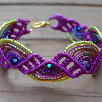 Purple Beaded Micro Macrame Bracelet by SeaTurtleWhimsy on Etsy