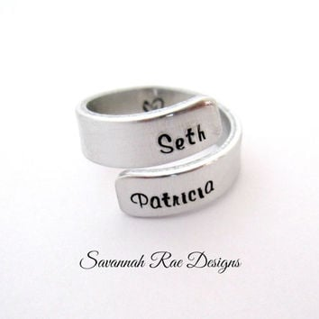 Handstamped wrap ring. Custom wrap ring. Personalized wrap ring. Custom jewelry. Handstamped jewelry. Aluminum wrap ring.