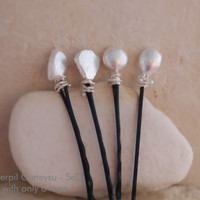 "NEW! Natural FINE SILVER Hair Clip / Jewelry - Wedding Bridal Hair Accessories -  Rope & Rock Hair Clips - "" with only a rope """