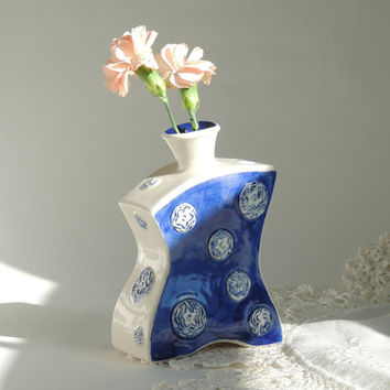 Polka Dot Bud Vase in Blue and White