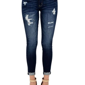 KAN CAN Kancan Women's Mid Rise Destroyed Cropped Skinny Jeans KC6050