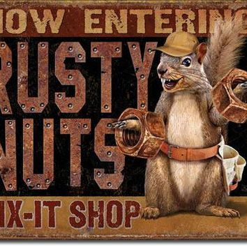 Rusty Nuts Fix-It Shop metal sign