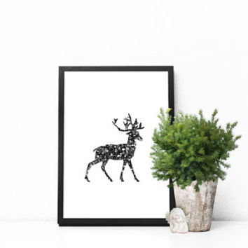 Scandinavian Christmas decorations, Scandinavian modern print Scandinavian poster Scandinavian wall art Deer wall art PRINTABLE Nordic decor