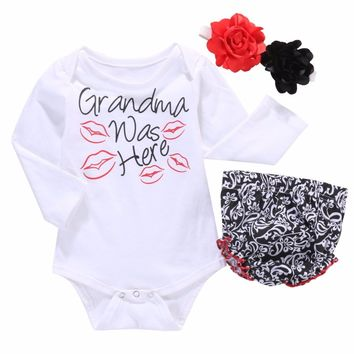 """Adorable 3pc """"Grandma Was Here"""" Kisses Onside, Bloomers and Headbands Baby Girls Set"""