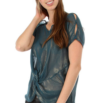 Shimmer Chiffon Knotted Blouse
