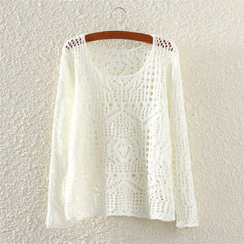 Women's Hollow White Solid Comfortable Knit Sweater