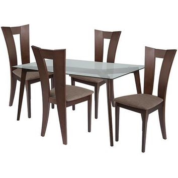 Huntington 5 Piece Espresso Wood Dining Table Set with Glass Top and Slotted Back Wood Dining Chairs - Padded Seats