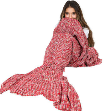 Vlent Women Knitted Crochet Long Mermaid Pajama Set Autumn Adult Soft Fish Tail Warm Sofa Warm Bag Handmade Elegant Wrap Bedding