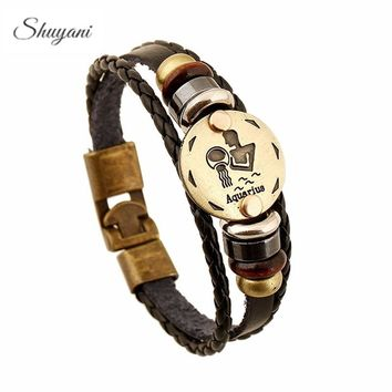 12 Constellations Bracelets Jewelry For Women Men Leather Charm Bracelet Men Casual Personality Vintage Punk Bracelets & Bangles