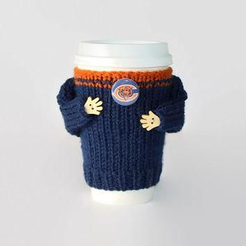 Chicago Bears coffee cozy. NFL Bears jersey. Blue orange. Knitted cup sleeve. Travel m
