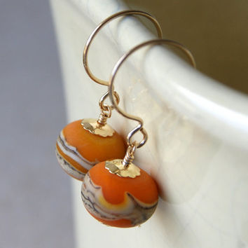 Lampwork Glass Earrings - Orange Glass Earrings - lampwork glass beads - Glass Drop Earrings - gold filled - one of a kind