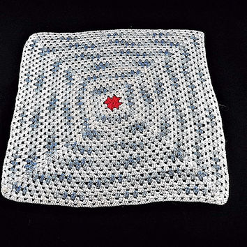 """White and Blue Square Doily/ Placemat w/ Red center 15"""" Vintage Handmade"""