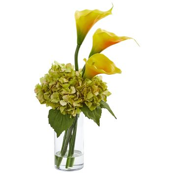 Artificial Flowers -18 Inch Calla Lily and Hydrangea Arrangement