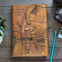 Leather Map Journal by Tactile Craftworks | The Grommet