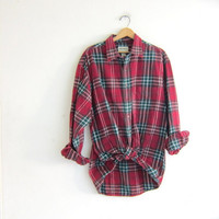 Vintage red Plaid Eddie Bauer Flannel / Grunge Shirt / blue button up shirt / men's size XL tall
