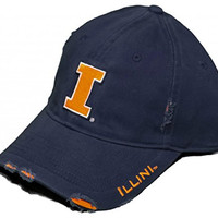New! University of Illinois Illini - Adjustable Buckle Back Hat Embroidered Factory Distressed Cap - Navy