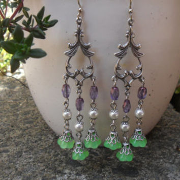 Delicate chandelier earrings, oxidized silver plated, green floral beads, imitation pearl beads, purple Czech glass beads; UK seller
