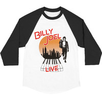 Billy Joel Men's  Vintage 70's Baseball Jersey Black & White Rockabilia