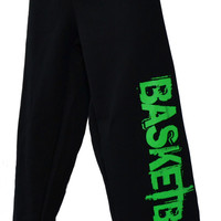 Basketball Sweatpants - Neon Green (White or Red available as well) on Black sweatpants