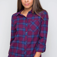 New Crew Plaid Top - Burgundy