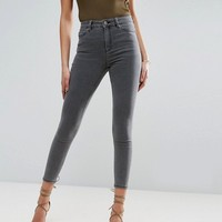 ASOS RIDLEY High Waist Skinny Jeans in Slated Gray at asos.com