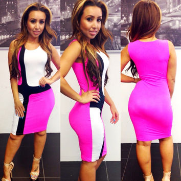 White and Pink Color Block Bodycon Dress