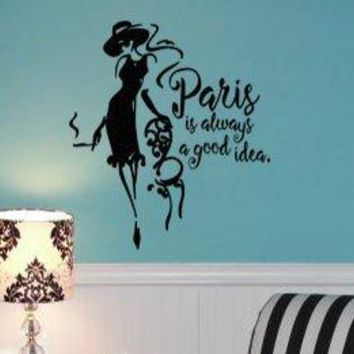 "Lucky Girl Decals Inspired by Audrey Hepburn 21"" w x 24"" h Vinyl Wall Decal Sticker Paris Is Always A Good Idea"
