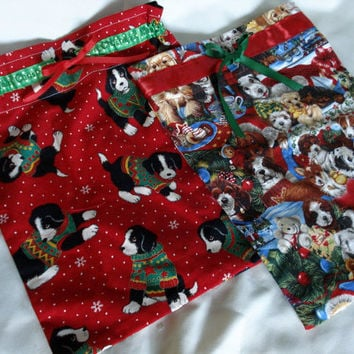 Christmas Gift Bags, Dogs, Puppies, Christmas Gift Wrapping, Reuseable Gift Bags
