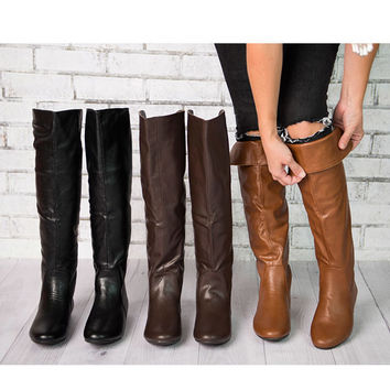 Women's Flat Tall Riding Boots - Assorted Colors