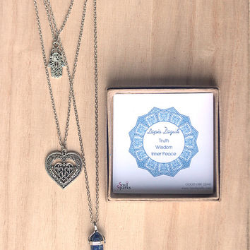 Lapis Lazuli Crystal Point Pendant Bohemian Necklace with Silver Hamsa, Heart Charm, Good Vibe Necklace Gift for Mom