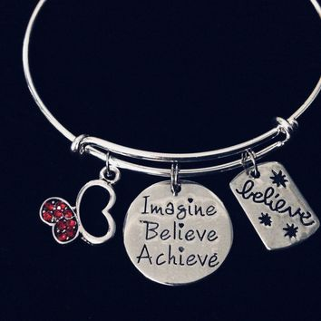 Imagine Believe Achieve Expandable Charm Bracelet Red Crystal Silver Butterfly Adjustable Bangle Inspirational Jewelry One Size Fits All Gift