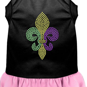 Mardi Gras Fleur De Lis Rhinestone Dress Black with Light Pink XS (8)