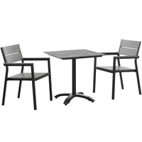 Maine 3 Piece Outdoor Patio Dining Set Brown Gray EEI-1759-BRN-GRY-SET