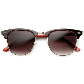 Retro Two Tone Colorful Half Frame Horned Rim Sunglasses 9182