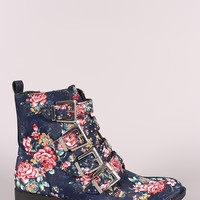 Qupid Floral Studded Buckled Strap Moto Ankle Boots