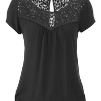 peasant top with floral lace yoke