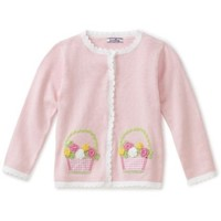 Hartstrings Little Girls' Easter Basket Cardigan Sweater