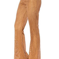 Faux Suede Bell Bottom Pants - Camel - FINAL SALE