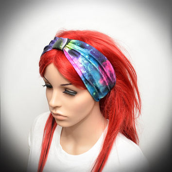 Turban style headband with colorful galaxy, stars, planets and space print