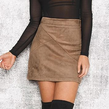 8DESS vintage leather suede pencil skirt Cross high waist skirt Zipper split bodycon short skirts