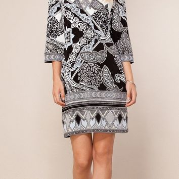 Black & Blue Printed Jersey Shift Dress