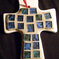 Cross Christmas Ornament with Blue Stained Glass